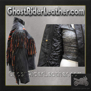 Ladies Leather Jacket With Orange Flames and Fringe / SKU GRL-LJ259-DL-ladies leather jacket with fringe-Ghost Rider Leather