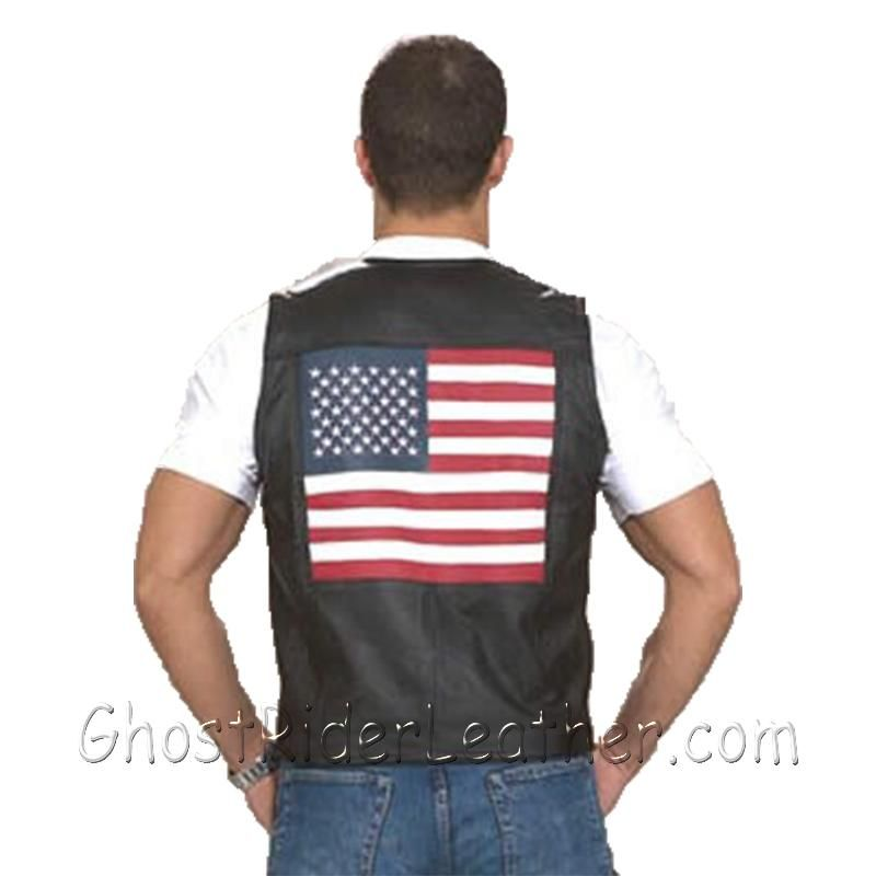 Mens Leather USA - American Flag Motorcycle Vest - SKU GRL-MV2750-DL-mens leather motorcycle club vest-Ghost Rider Leather