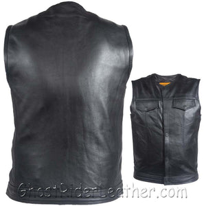 Mens Leather Motorcycle Club Vest with Zipper and No Collar / SKU GRL-MV8008-ZIP-SS-DL-leather vest-Ghost Rider Leather