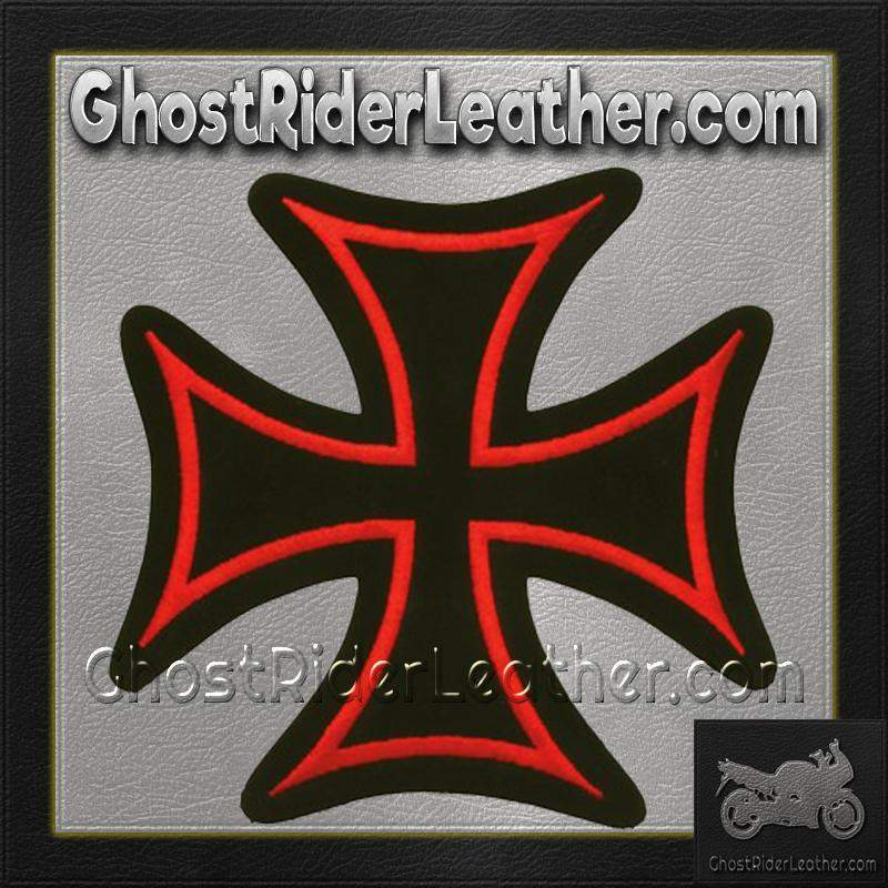 Iron Cross With Red Border Patch / SKU GRL-PAT-B126-DL-biker patch-Ghost Rider Leather