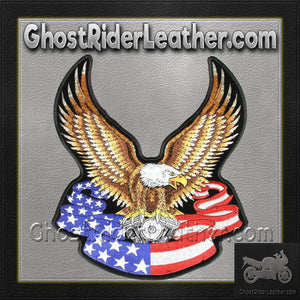 Eagle with V-Twin and American Flag Banner Vest Patch - Large - SKU GRL-PPA1097-HI-biker patch-Ghost Rider Leather
