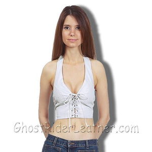 Ladies White Leather Halter Top With Leather Laces Front Closure - SKU GRL-SK992-DL-Ladies Vest-Ghost Rider Leather