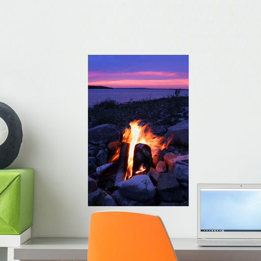 Campfire on the Lake Wall Mural