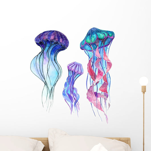 Three Watercolor Jellyfish Wall Decal