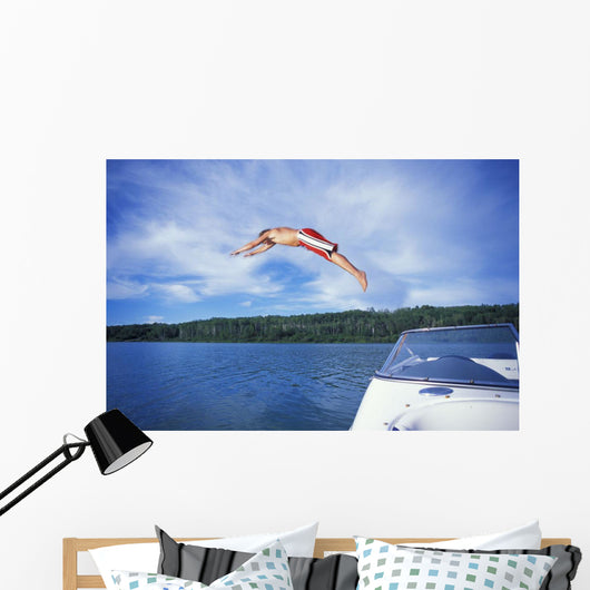Diving Into A Lake Wall Mural
