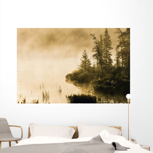 Fog Over Lac Roland At Sunrise Wall Mural