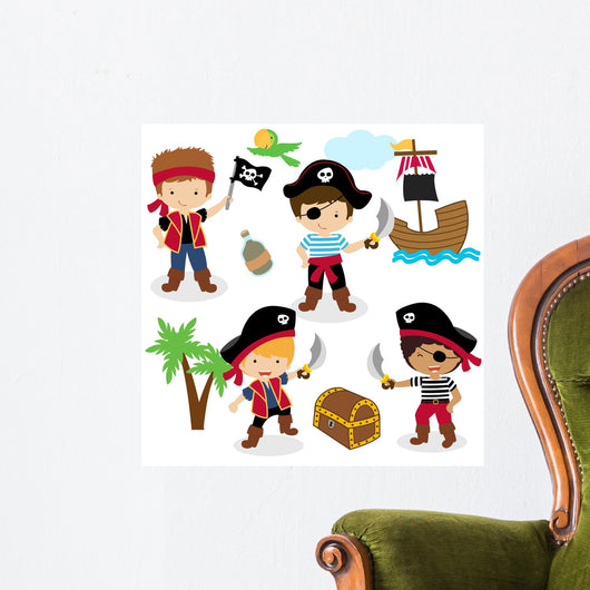 Cute set of children pirates