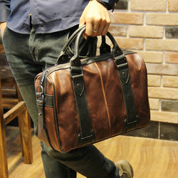 New Men Crazy horse PU Leather laptop briefcase