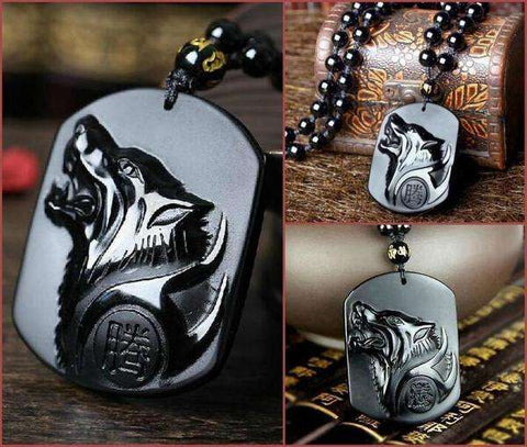 Black Wolf Obsidian Necklace - CoventryMall