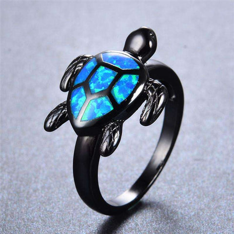Blue Fire Opal Turtle Rings - CoventryMall
