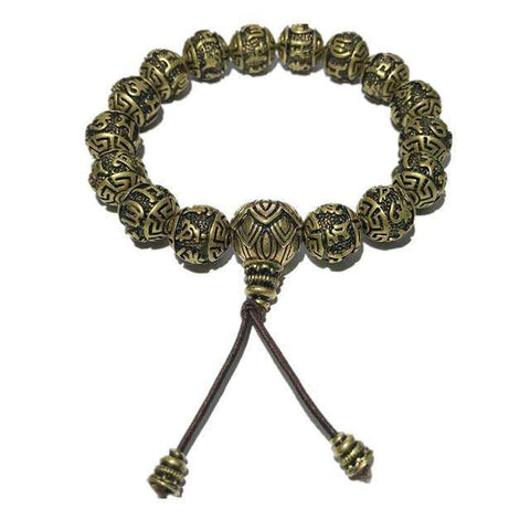 Ancient Lotus Silver Prayer Beads Bracelet - CoventryMall