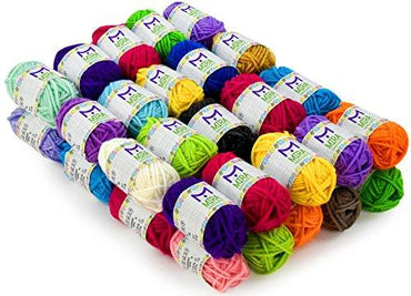 Mira Handcrafts 40 Assorted Colors Acrylic Yarn Skeins with 6 E-Books - Perfect for Any Knitting and Crochet Mini Project