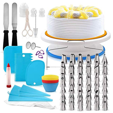 H3 Innovations- 118pc Cake Decorating Supplies | Cake Decorating Kit | Cake Turntable | Numbered Piping Frosting Tips with Guide | Cake Leveler | Cake Stand | Cupcake Decorating | Piping Bags and Tips