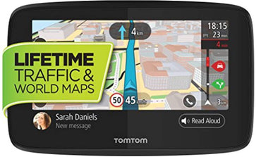 TomTom GO 620 6-Inch GPS Navigation Device with Free Lifetime Traffic & World Maps, WiFi-Connectivity, Smartphone Messaging, Voice Control and Hands-Free Calling