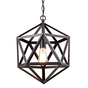 CLAXY Ecopower Industrial Edison Hanging Pendant 1 Light Large Size Art Deco Cage Lamp Guard