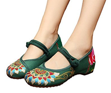 AvaCostume Women's Buddhism Totem Embroidery Casual Mary Jane Shoes