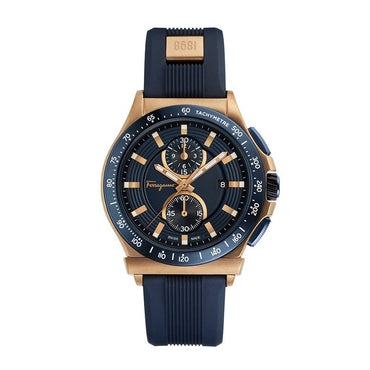 Salvatore Ferragamo Men's Ferragamo 1898 Sport Stainless Steel Swiss-Quartz Watch with Rubber Strap, Blue, 22 (Model: FFJ020017)