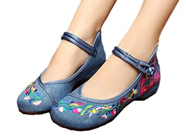 AvaCostume Women's Embroidery Fan Pattern Casual Mary Jane Shoes
