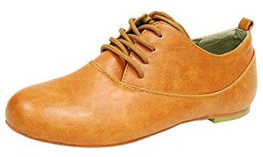 Spicy Women's F701 Lace-Up Closed Toe Brogue Oxford Wingtip Flat