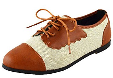 Chase & Chloe Women's Two Tone Lace Up Oxford Flat
