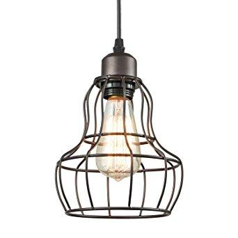 YOBO Lighting Minimalist 1-Light Oil Rubbed Bronze Hanging Pendant Light LOFT Wire Cage Guard