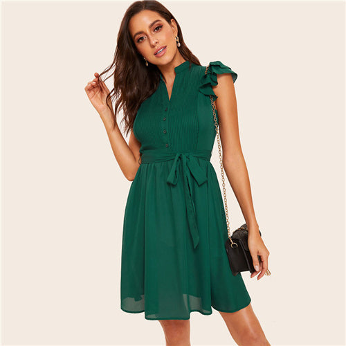Green Pleated Summer Dress With Belt - Lacies.co