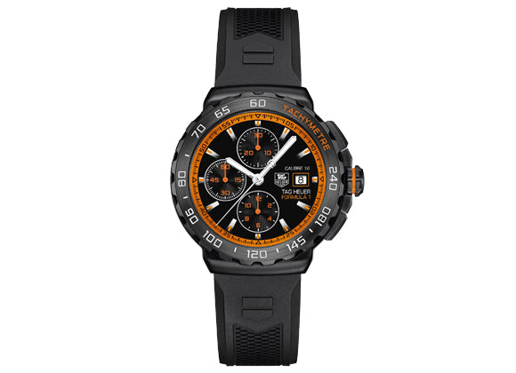 Watch Formula 1 Calibre 16 Automatic Chronograph 44 mm Black and Orange Rubber