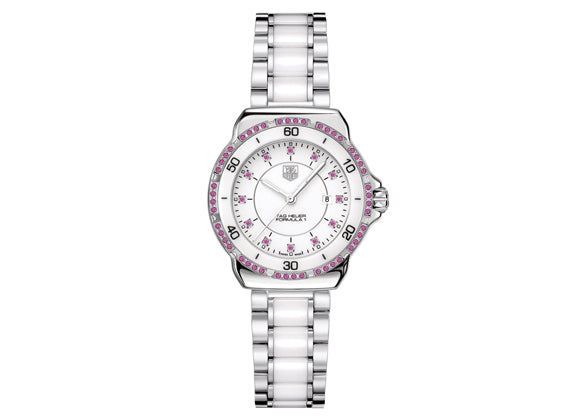 Watch Formula 1 Ladies Steel and Ceramic Sapphires 37 mm White Bracelet