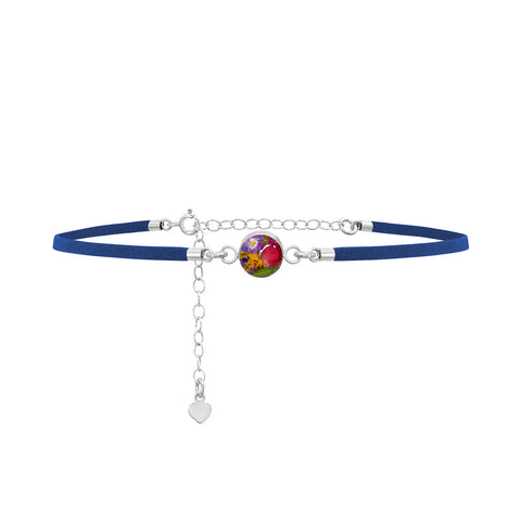 Charm Choker Necklace with real flowers-Navy Blue Leather Look-Sterling Silver Chain