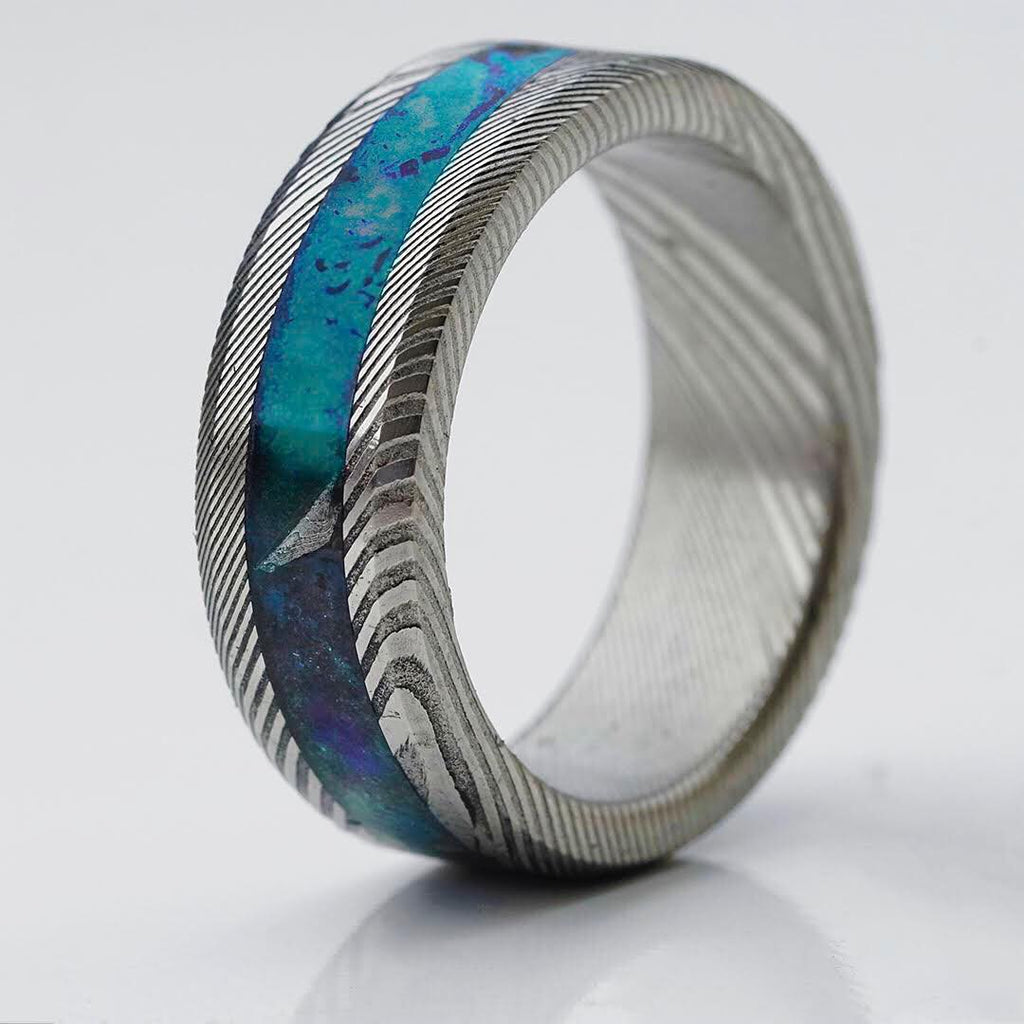 Twisted Damascus Glowstone Ring
