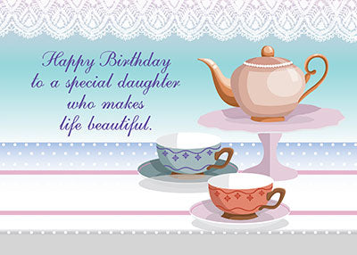 52314B Daughter Birthday Teapot, Teacups Religious