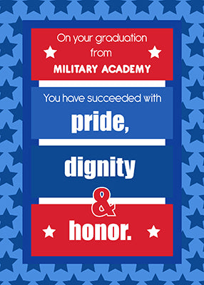 51661R Military Academy Graduation Congratulations Red, White, Blue Stripes Stars