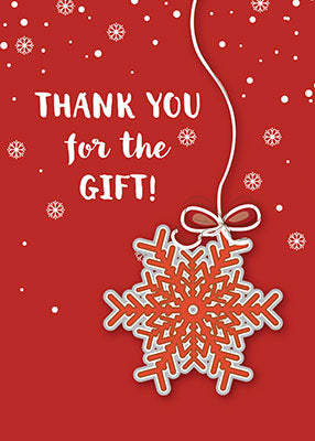 52354 Thank You For Christmas Gift, Scarlet Red & Gray Snowflake