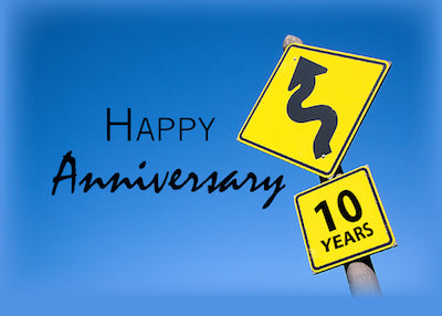 3924A 10th Year Business Anniversary Road Sign