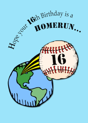 4148H 16th Baseball Birthday Homerun
