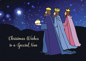 52483F Nun Christmas Wishes Three Kings at Night