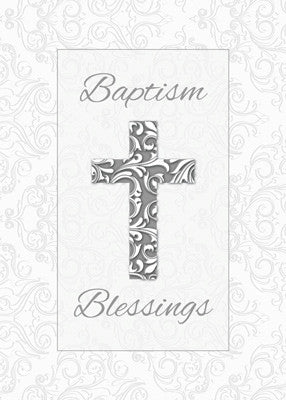 52283 Baptism Blessings, Cross with Damask Swirls, Silver, 3D Look