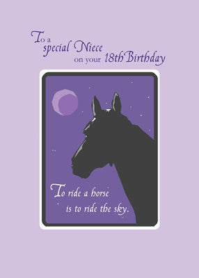 51955 Niece 18th Birthday with Horse at Night on Purple