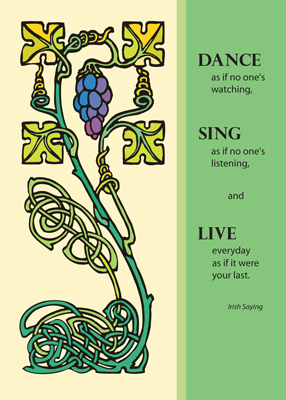 2704 Celtic Birthday Card, Dance, Sing, Live