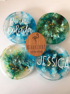 Personalised Coaster- Teal and Gold