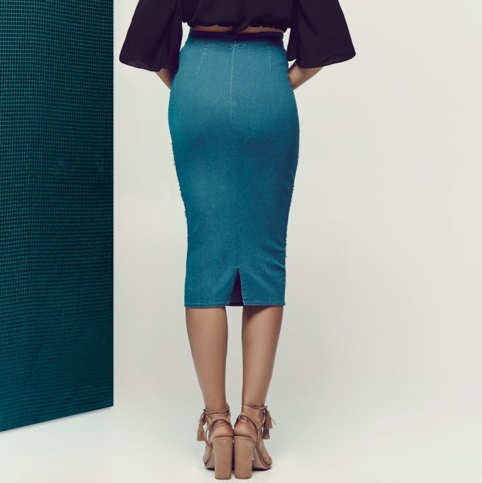 HAVE A VISION Blue Denim Pencil Skirt - AfterPay & ZipPay Worldwide Shipping