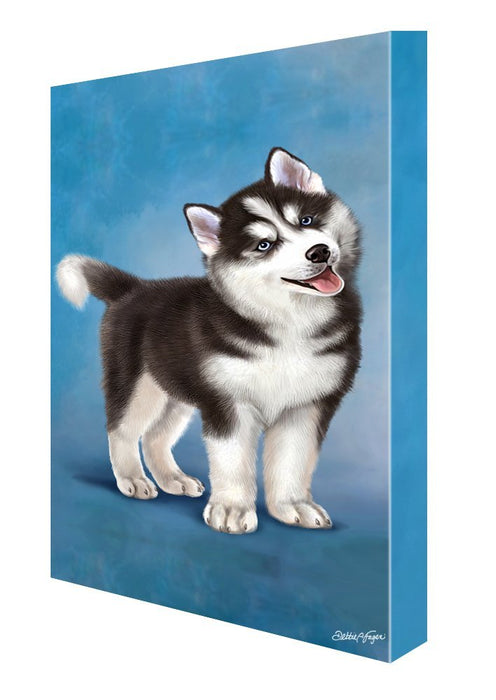 Siberian Husky Dog Painting Printed on Canvas Wall Art Signed