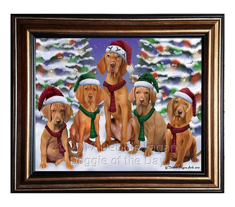 Vizsla Dog Christmas Family Portrait in Holiday Scenic Background Framed Canvas Print Wall Art