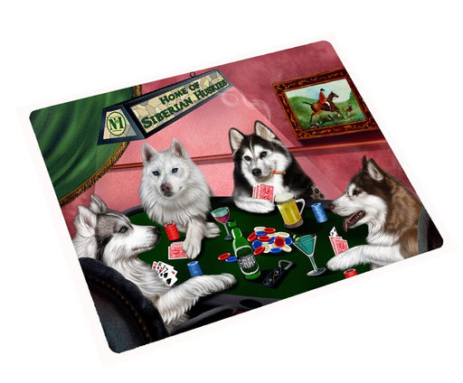 Siberian Husky Tempered Cutting Board 4 Dogs Playing Poker