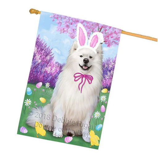 American Eskimo Dog Easter Holiday House Flag FLG54428
