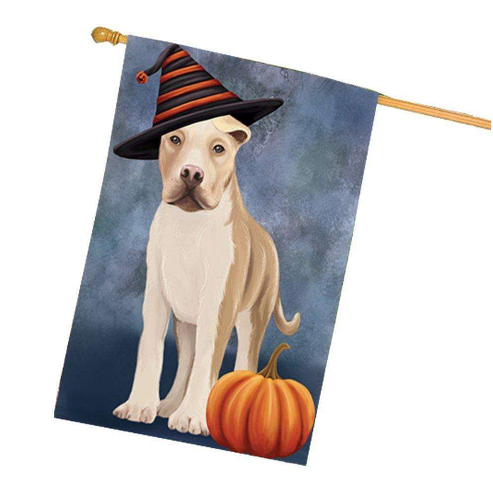 American Staffordshire Dog Wearing Witch Hat with Pumpkin House Flag