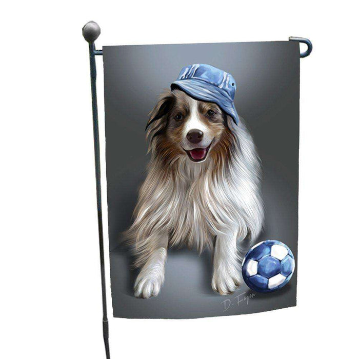 Australian Shepherd Red Merle Dog Wearing Hat with Ball Garden Flag