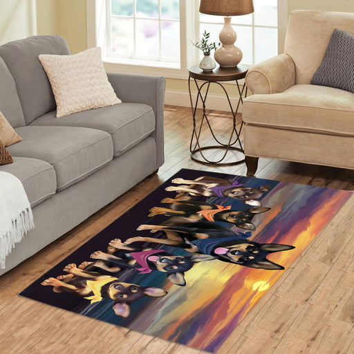 Personalized Family Sunset Portrait Australian Kelpie Dogs Custom Garden Flags GFLG-DOTD-A60568