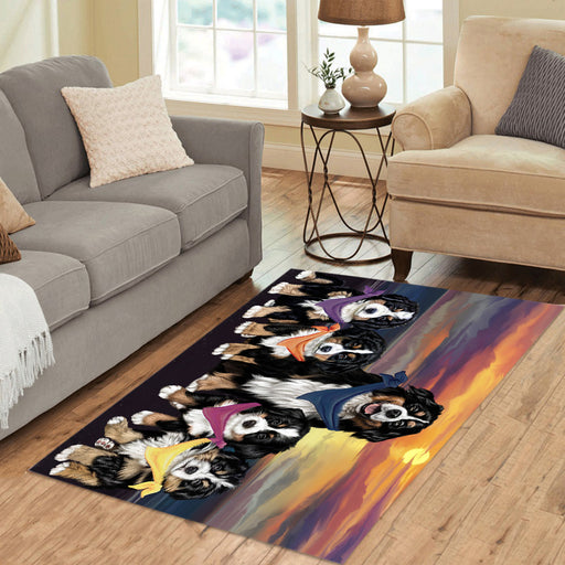 Personalized Family Sunset Portrait Bernese Mountain Dogs Custom Garden Flags GFLG-DOTD-A60575