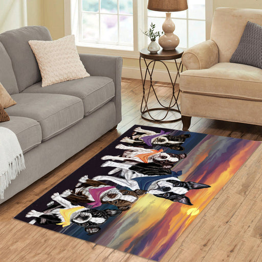 Personalized Family Sunset Portrait Boston Terrier Dogs Custom Garden Flags GFLG-DOTD-A60582